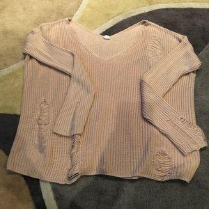 Moth bitten style light pink slouchy sweater